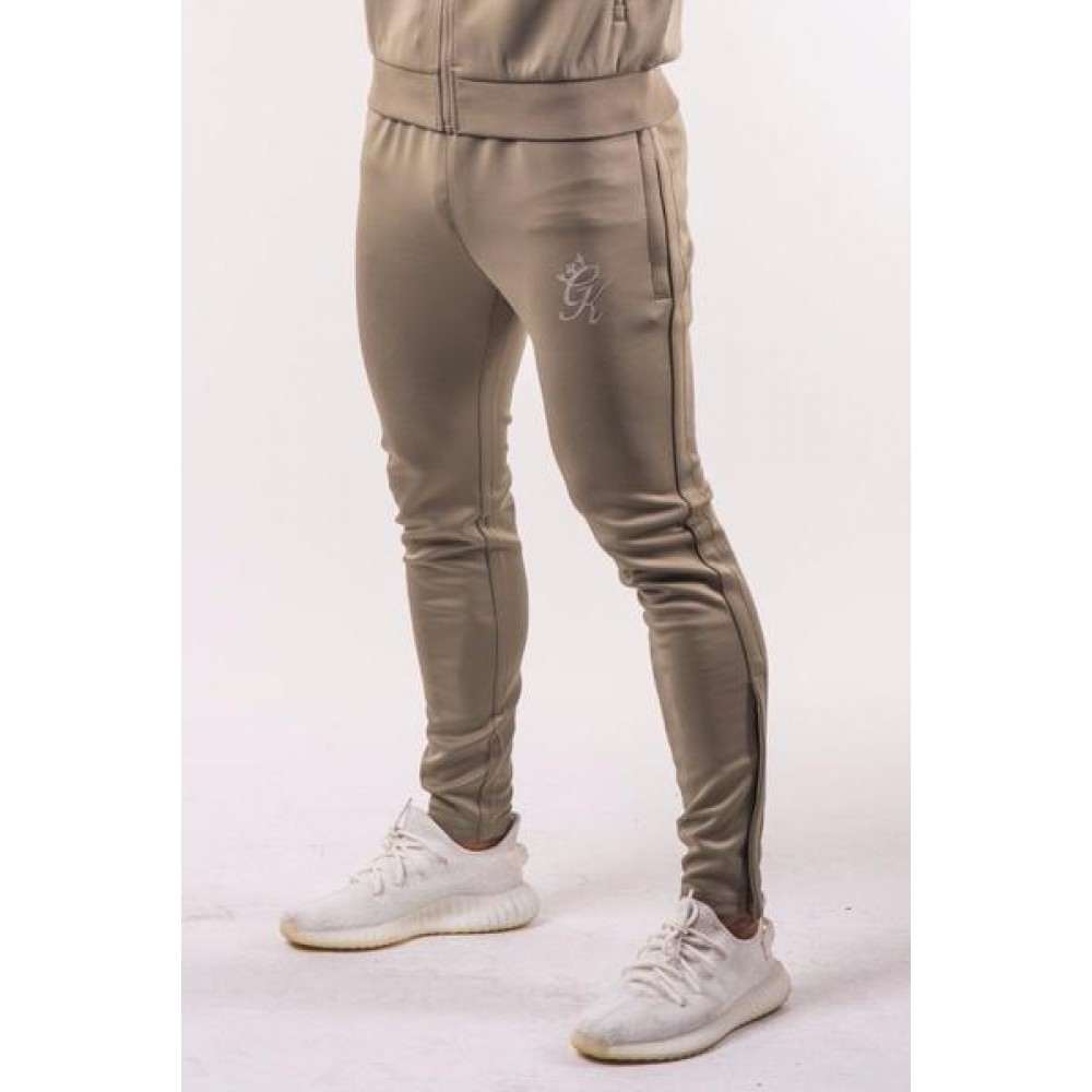 Gym King Tapered Poly Tracksuit Bottoms - Light Khaki