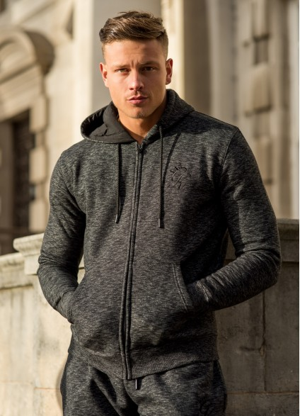 Gym King Tracksuit Zipped Hoodie - Black Space Dye