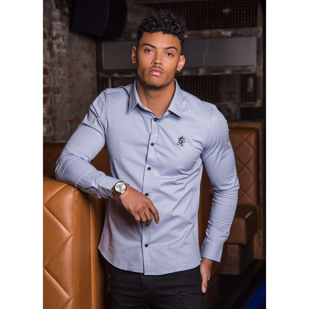 Gym King Longsleeve Poplin Shirt – Grey Dawn