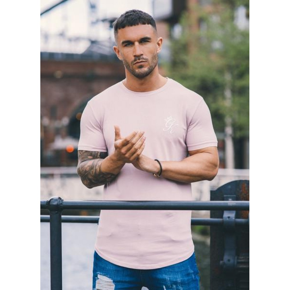 Gym King Longline Fitted T-Shirt - Mauve Shadows