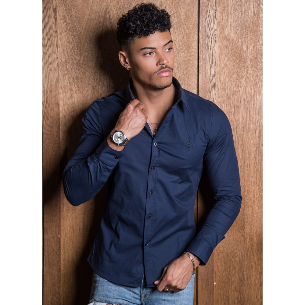 Gym King Longsleeve Poplin Shirt – Navy