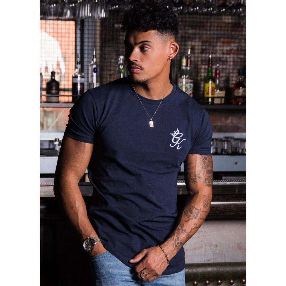 Gym King Longline Fitted T-Shirt – Blue Nights