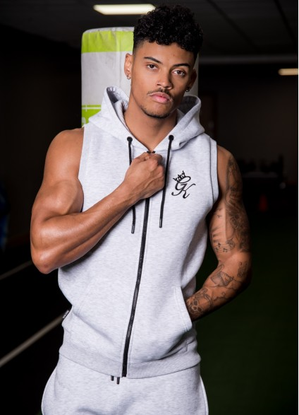 Gym King Sleeveless Zipped Hoodie – Snow Marl