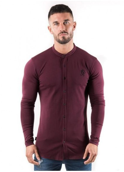 Gym King Longsleeve Grandad Jersey Shirt - Wine