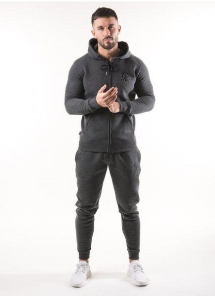 Gym King Tracksuit Top Zipped Hoodie - Charcoal Marl