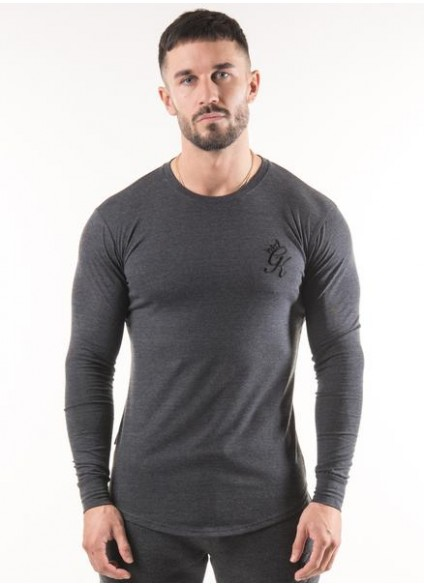 Gym King Longsleeve Fitted T-Shirt - Charcoal Marl