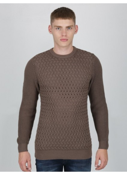 Luke 1977 Long Horn Textured Knit Jumper