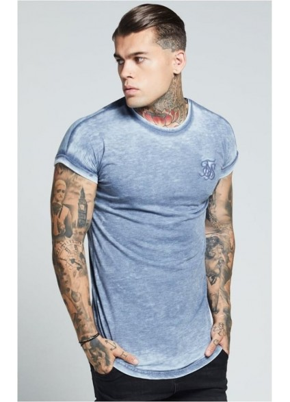 SikSilk  Curved Hem Burn Out Rolled Sleeve Tee – Blue