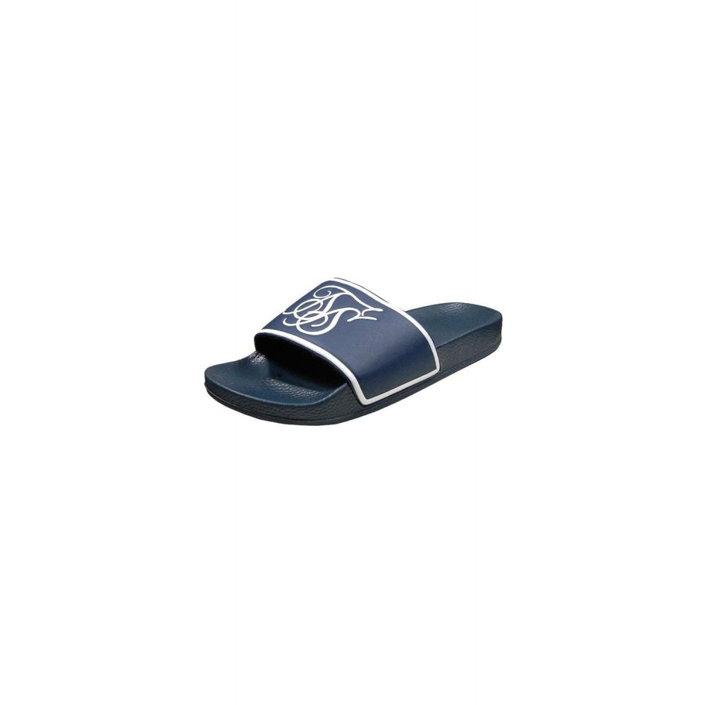 SikSilk Slide Flip Flops - Navy/White