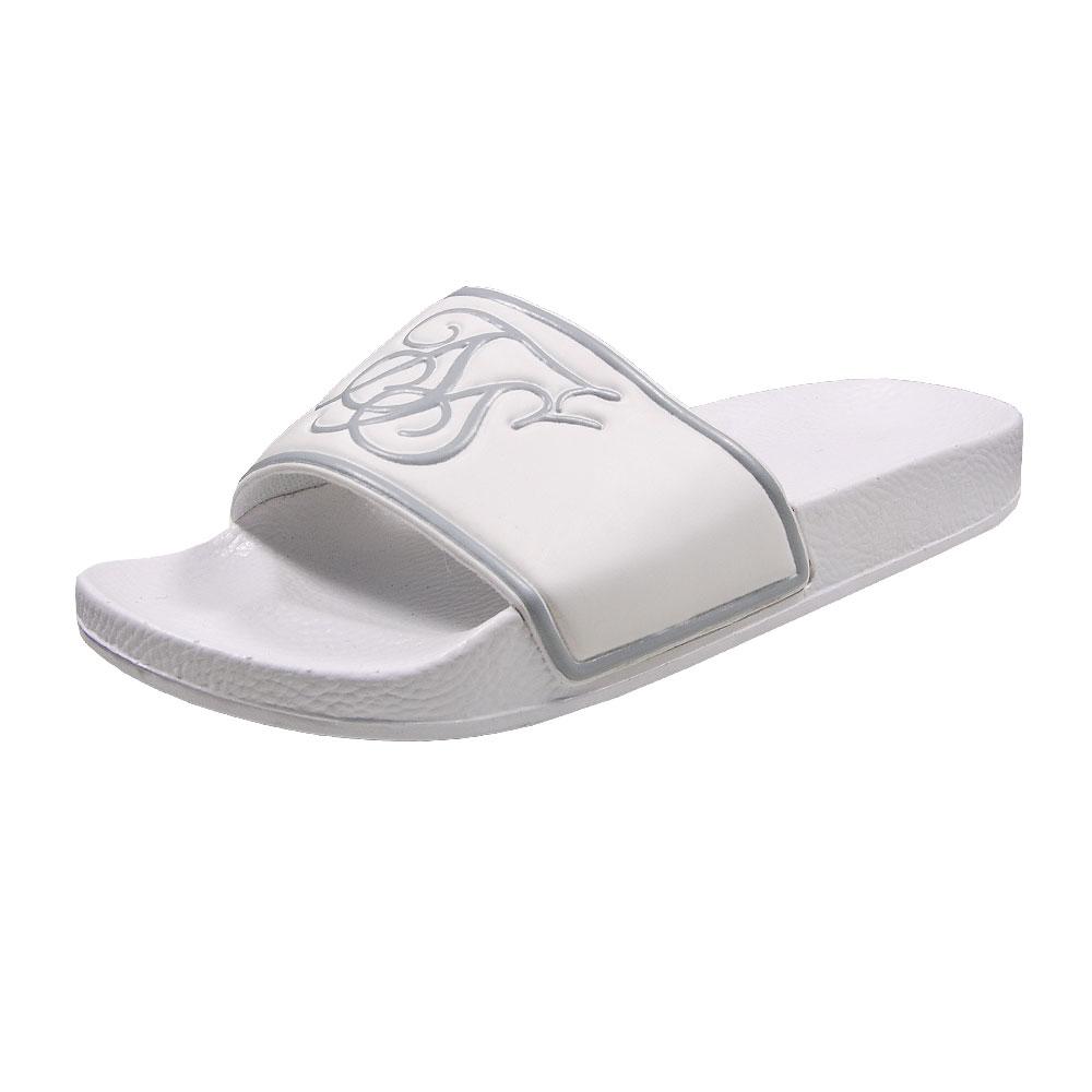 SikSilk Slide Flip Flops - White/Silver