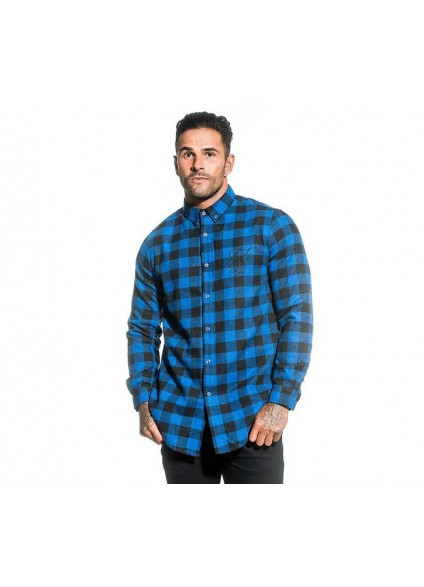 SikSilk Long Sleeved Check Shirt - Black / Blue