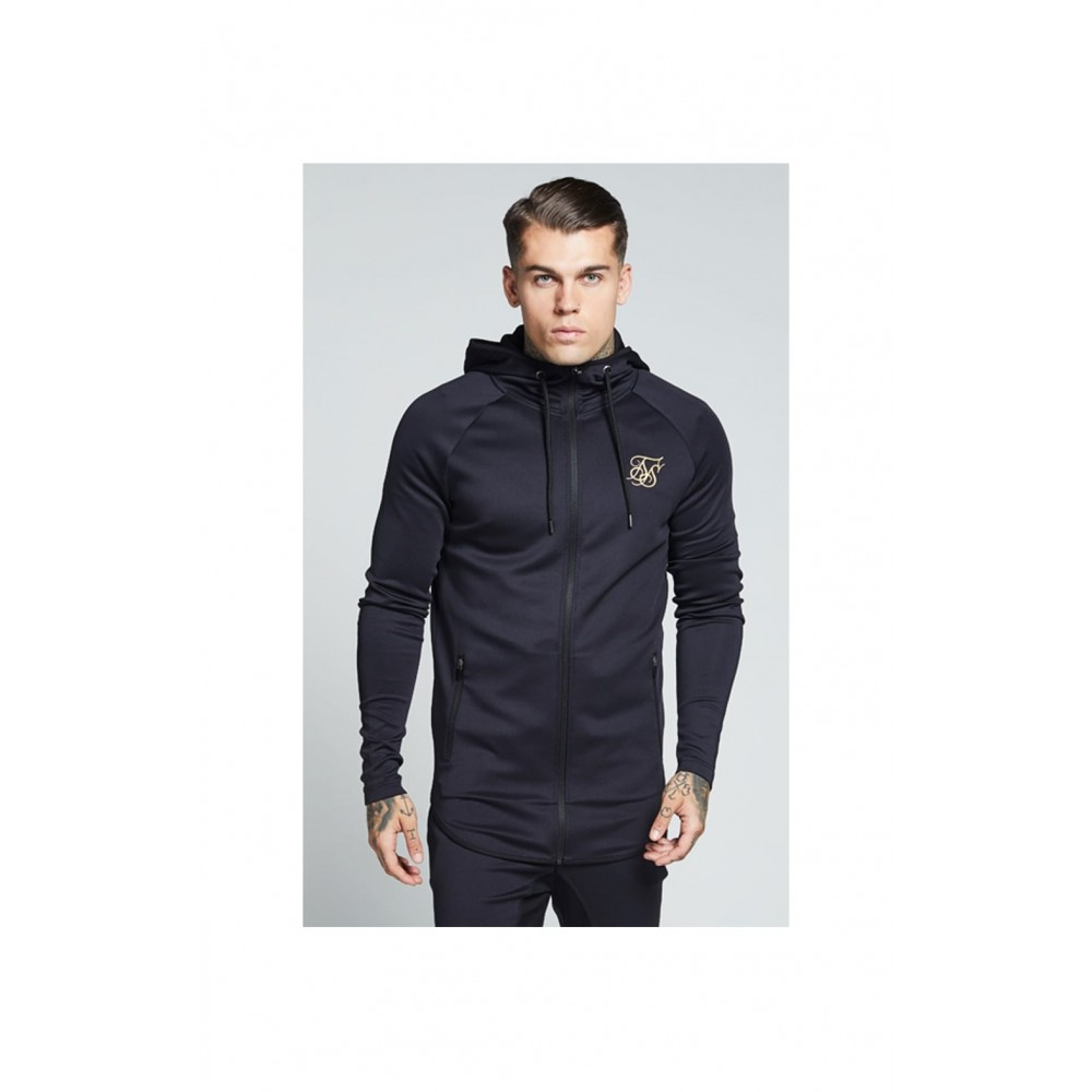 SikSilk Athlete Zip Through Hoodie – Black