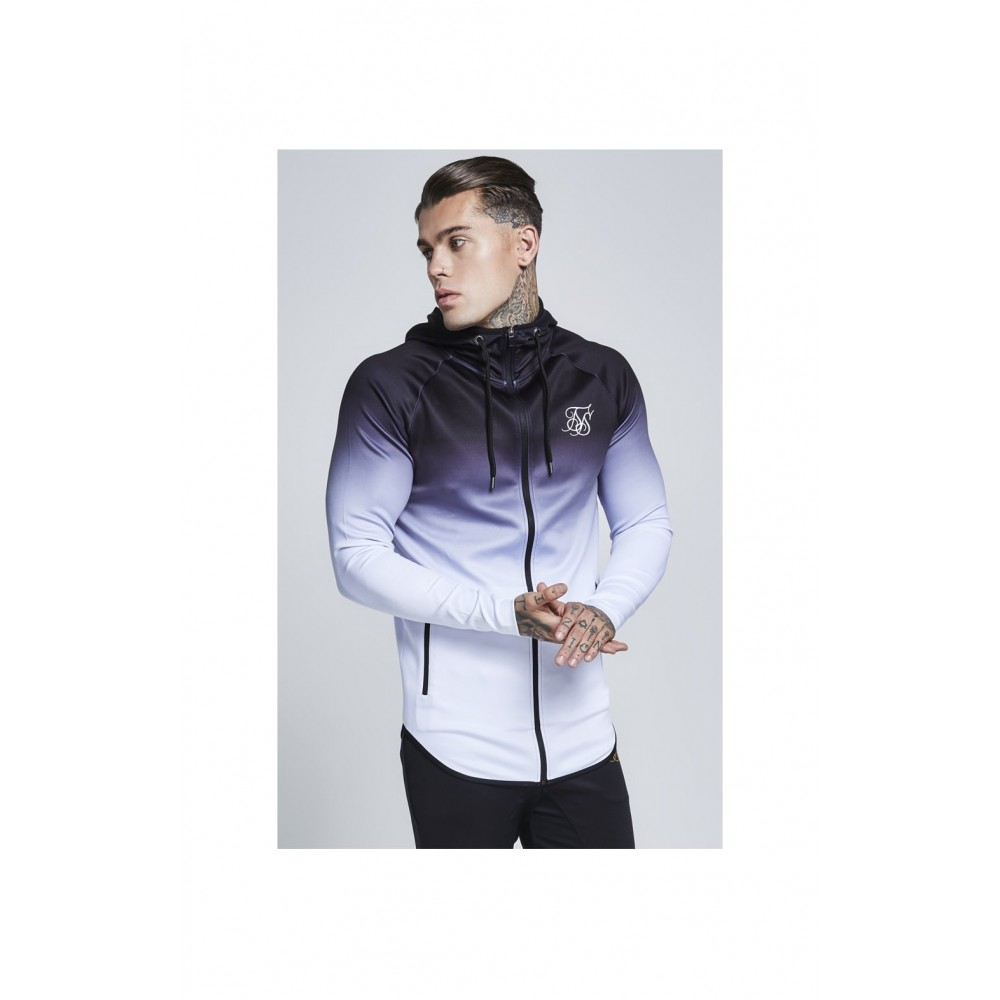 SikSilk Athlete Zip Through Hoodie – Black & White