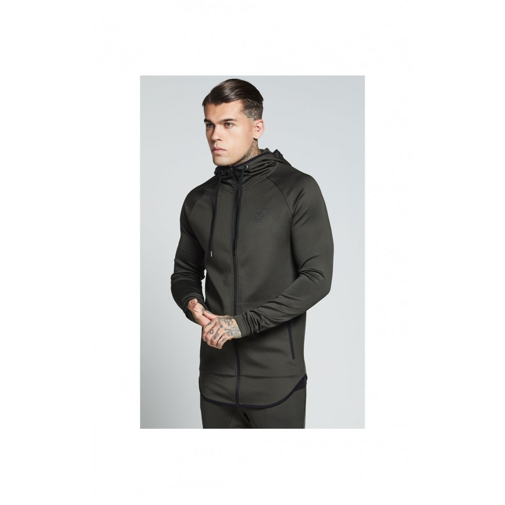 SikSilk Athlete Zip Through Hoodie – Khaki