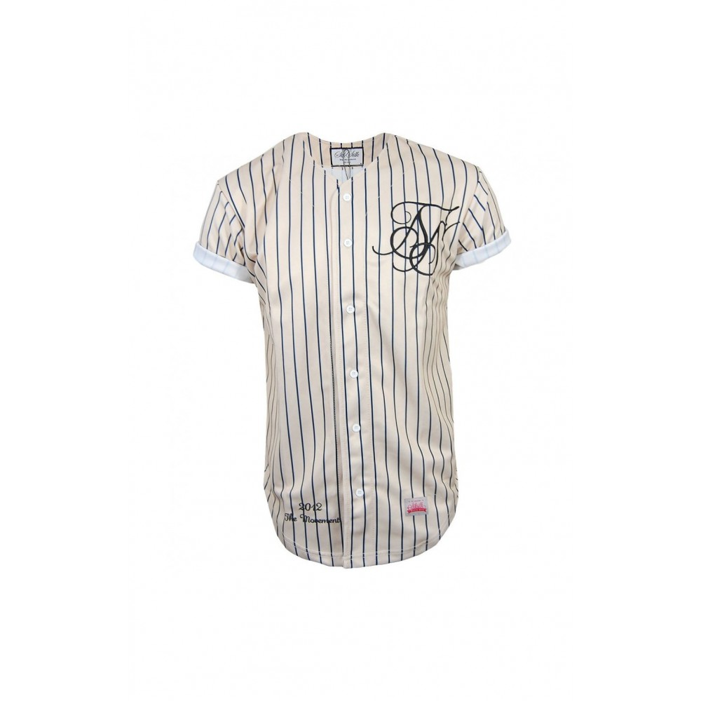 SikSilk Classic Baseball Jersey - Cream