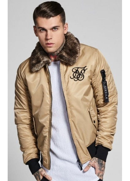 Sik Silk Climate Sherpa Bomber – Beige