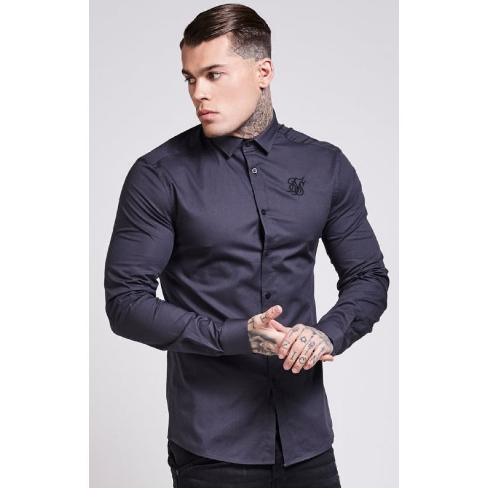 SikSilk Cotton Stretch Shirt - Dark Grey