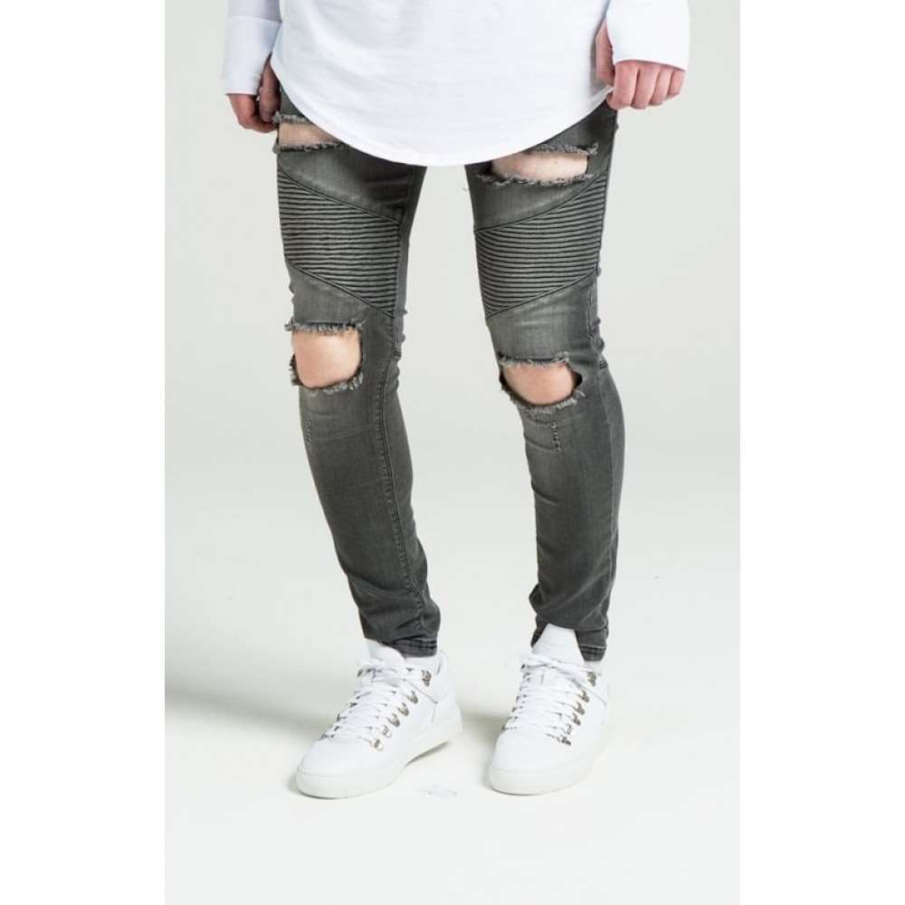 SikSilk Extreme Biker Skinny Denims - Washed Black
