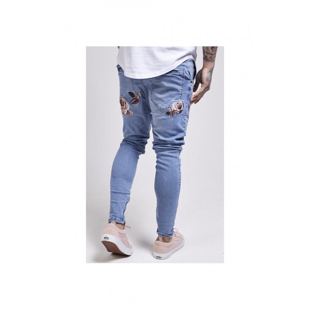 SikSilk Floral Spring Hareem Jeans – Light Stonewash