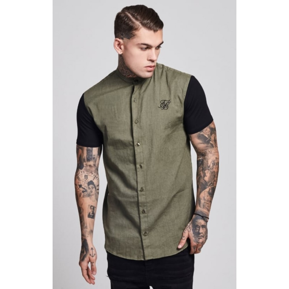 Sik Silk Jersey Short Sleeve Shirt with Contrast Sleeves – Khaki