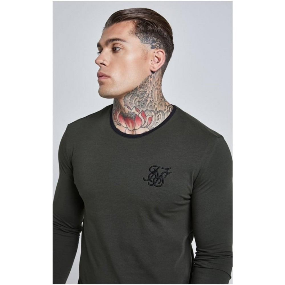 SikSilk Long Sleeve Curved Hem Tee - Khaki