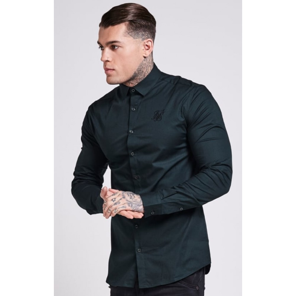 SikSilk Long Sleeve Poly Stretch Shirt – Dark Green