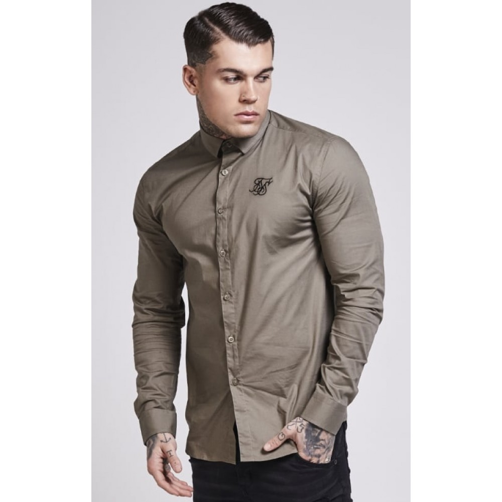 SikSilk Long Sleeve Poly Stretch Shirt – Khaki