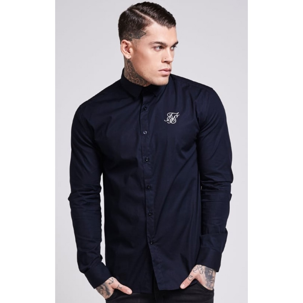 SikSilk Long Sleeve Poly Stretch Shirt – Navy