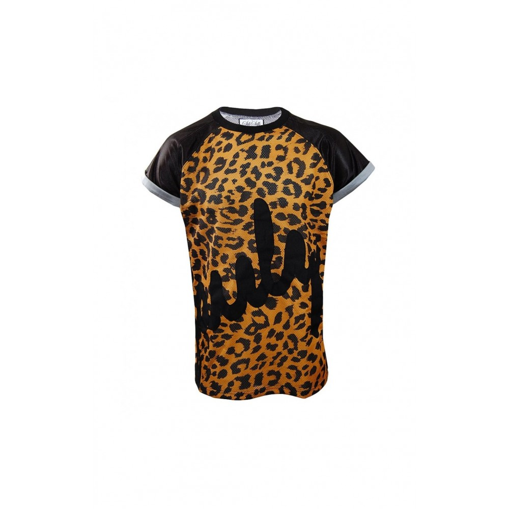 SikSilk OVERSIZED Poly-Mesh T-Shirt - Cheetah