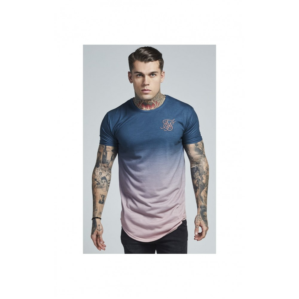 SikSilk S/S Curved Hem Faded Tee – Teal Rose Fade
