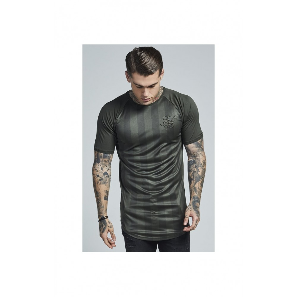 SikSilk S/S Shadow Stripe Curved Hem Tee – Khaki