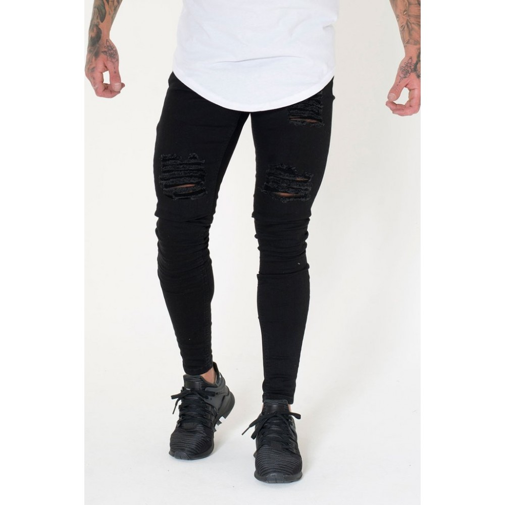 Sinners Attire Ripped & Repaired Jeans - Black