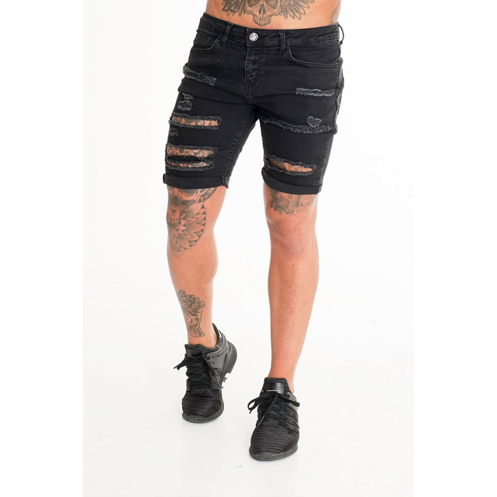 Sinners Attire Ultra Ripped Denim Shorts - Black