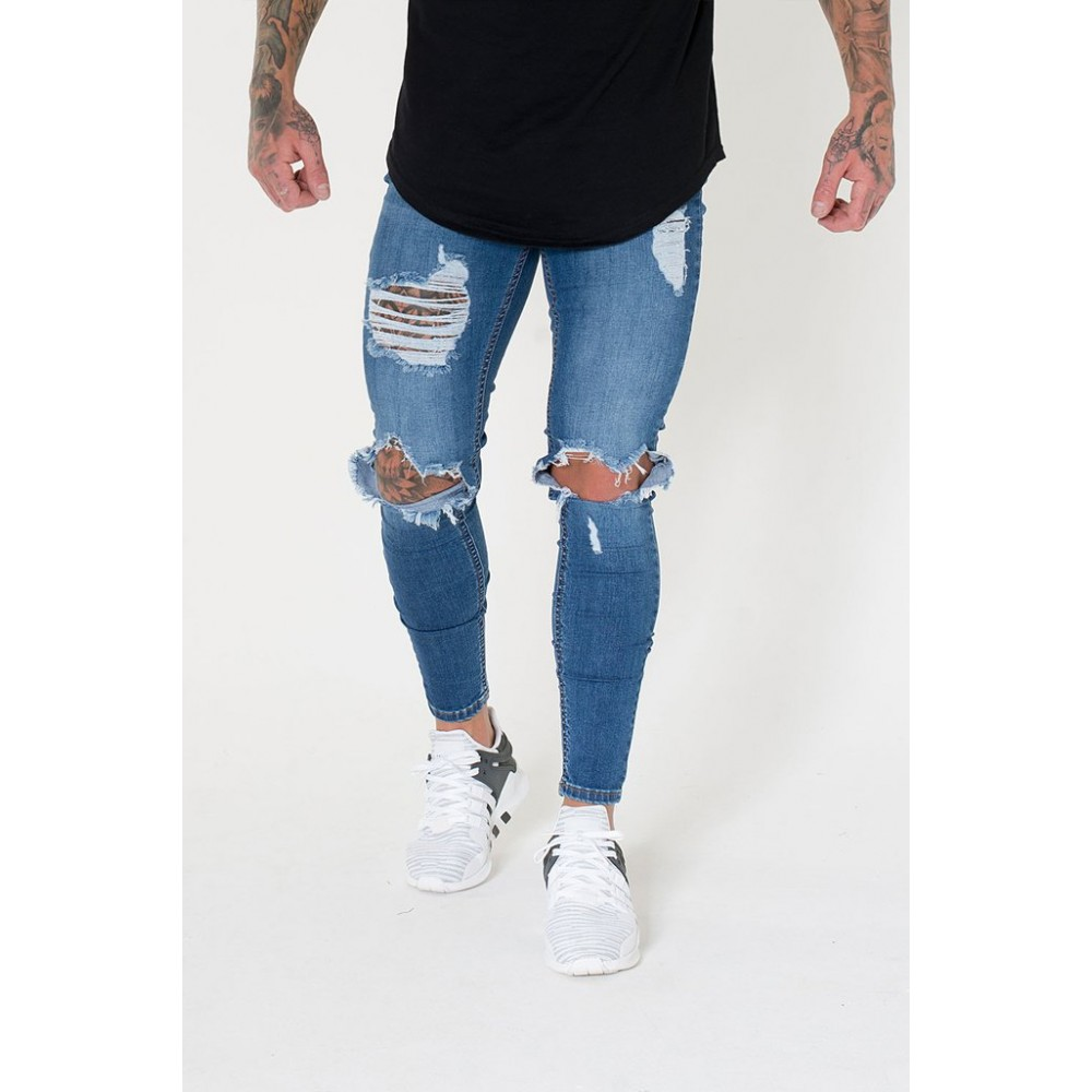 Sinners Attire Destroyed Jeans - Dark Blue