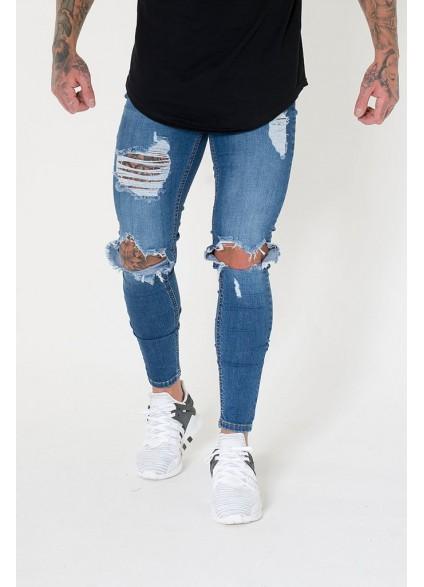 Sinners Attire Destroyed Jeans - Dark Blue