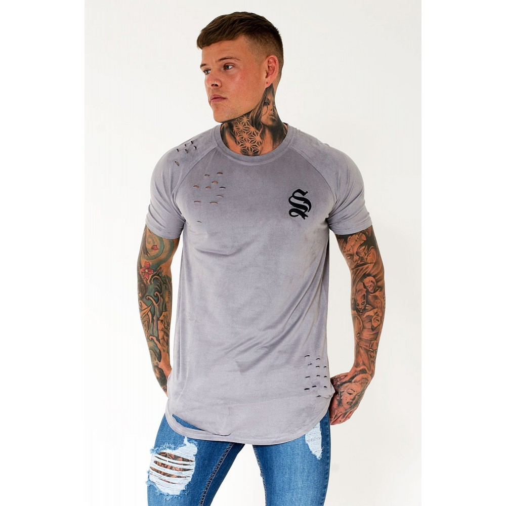 Sinners Attire Destroyed Suede Tee - Silver/Grey