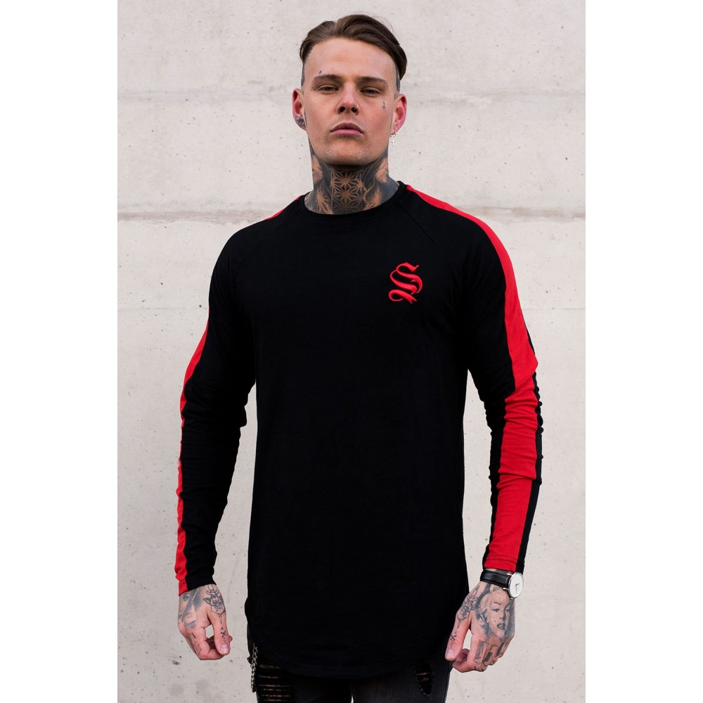 Sinners Attire Black/Red Long Sleeve Core Tee