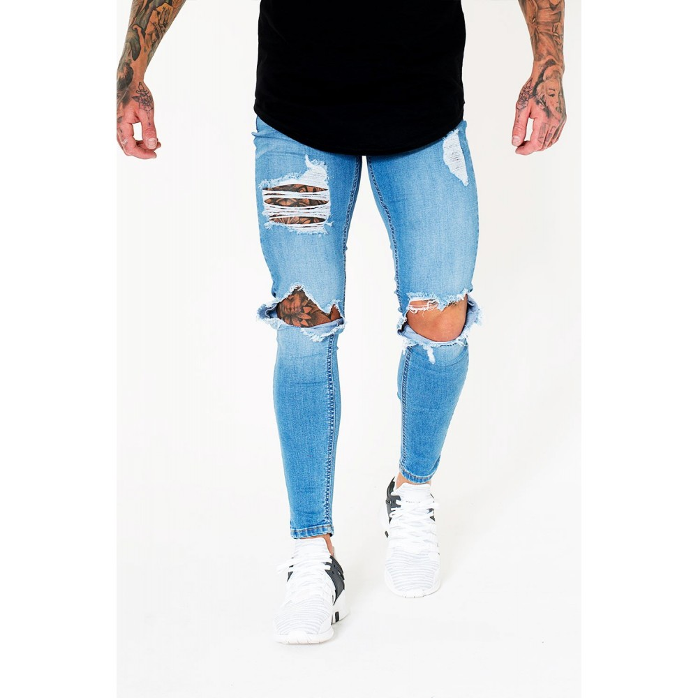 Sinners Attire Destroyed Jeans Light Blue
