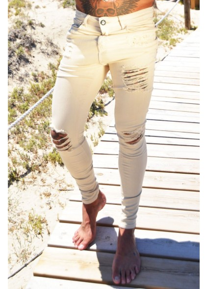 Sinners Attire Sand Ripped & Repaired Jeans