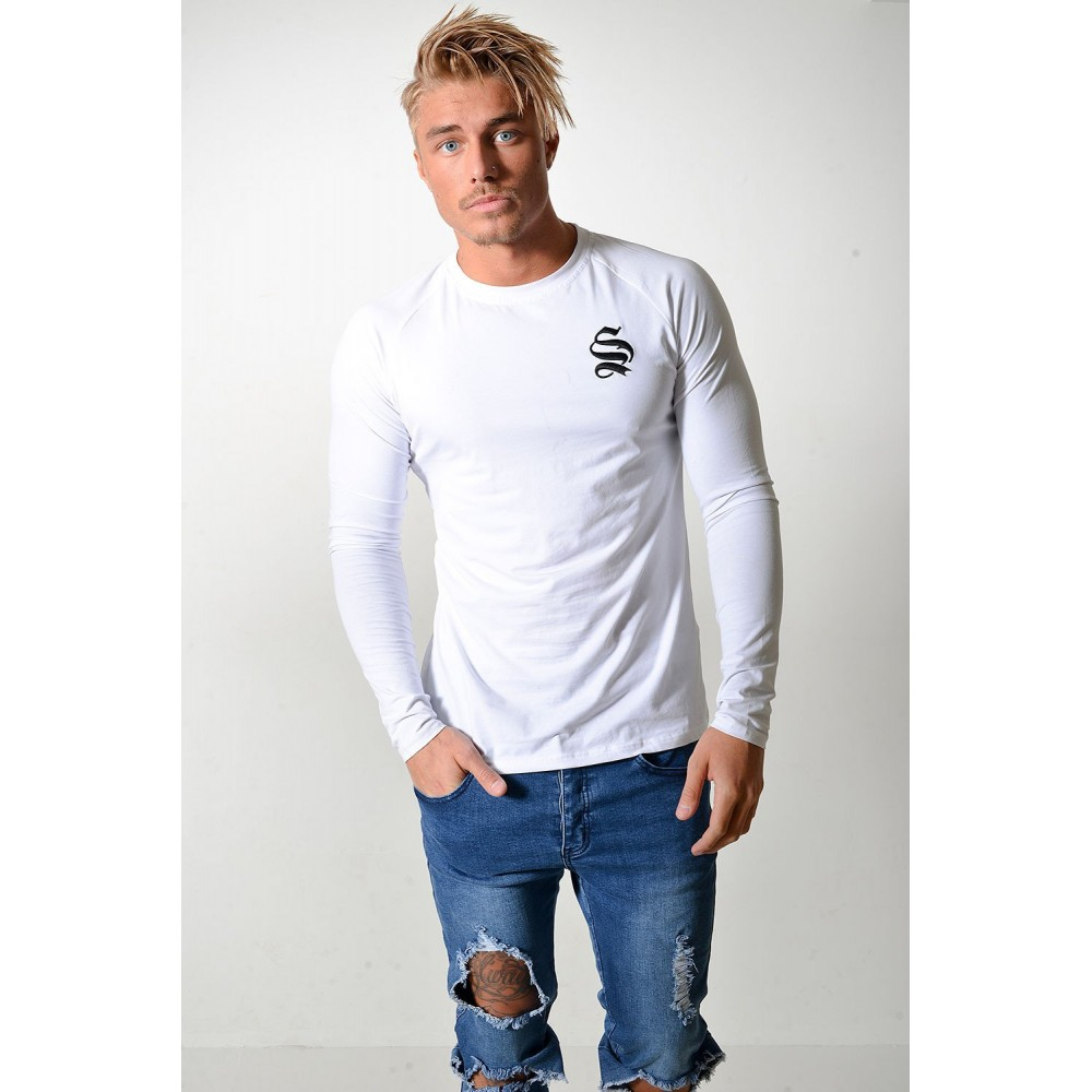 Sinners Attire Raglan Long Sleeve Muscle Tee - White